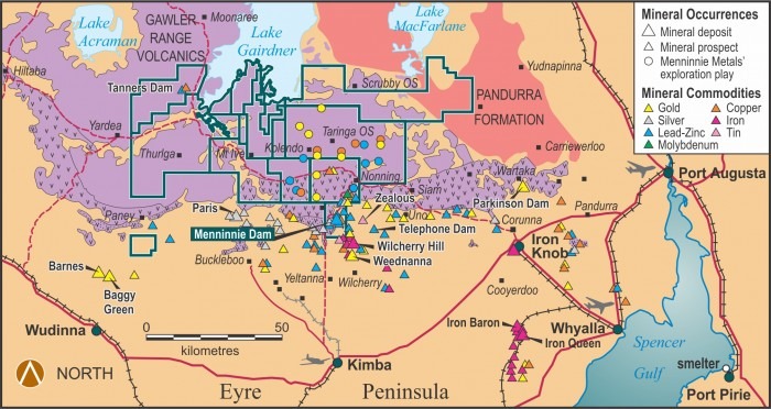 Figure 2. Gawler Ranges Project – generalised geological setting, mineral deposits and prospects. Upper GRV purple, lower GRV with 'v' pattern.