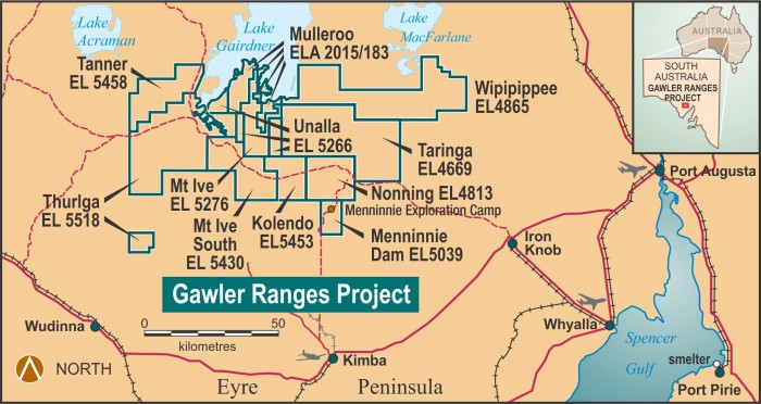 Figure 1. Gawler Ranges Project location and component tenements